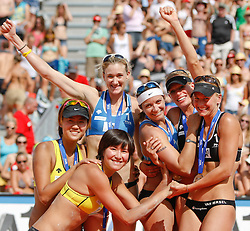 06-08-2011 VOLLEYBAL: FIVB WORLD TOUR GRANDSLAM: KLAGENFURT<br /> The winning team Kerri Walsh and Misty May-Treanor of USA, second place for Chen Xue and Xi Zhang of China and third place for Marleen Van Iersel and Sanne Keizer of Netherland at A1 Beach Volleyball Grand Slam tournament of Swatch FIVB World Tour 2011<br /> ©2011-FotoHoogendoorn.nl / Gert Steinthaler