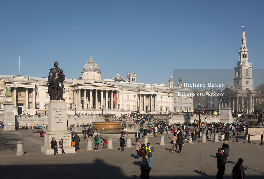 Trafalgar Square in Westminster, on 27th February 2019, in London, England.