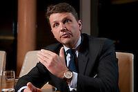 26 FEB 2009, BERLIN/GERMANY:<br /> Stephan Sturm, CFO Fresenius SE, waehrend einem Interview, nach der Preisverleihung des Best of European Business Awards, Franzoesische Botschaft<br /> IMAGE: 20090226-03-009
