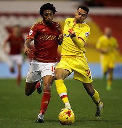 Ryan Mendes of Nottingham Forest (L) and Josh Murphy of Milton Keynes Dons in action - Mandatory byline: Jack Phillips / JMP - 07966386802 - 19/12/2015 - FOOTBALL - The City Ground - Nottingham, Nottinghamshire - Nottingham Forest v MK Dons - Sky Bet Championship