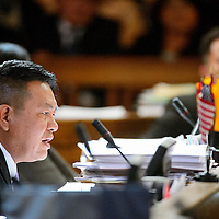 012714  Adron Gardner/Independent<br /> <br /> Navajo Nation Tribal Council delegate Duane S. Tsinigine, addresses the council  on day one of the winter session in Window Rock Monday.