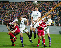 Fotball<br /> Tyskland Bundesliga 2004/05<br /> DFB-Pokal - andre runde<br /> Osnabrück v Bayern München<br /> 22. september 2004<br /> Foto: Digitalsport<br /> NORWAY ONLY<br /> Thomas LINKE , Thomas REICHENBERGER , Dave DE JONG , Jens JEREMIES , Joe ENOCHS