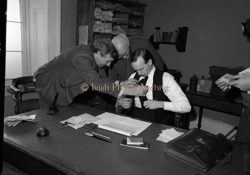 Patrick Pearse a film by Louis Marcus.    (N6)..1979..13.12.1979..12.13.1979..13th December 1979..A film on the Irish Patriot,Patrick was made by the Director, Louis Marcus.The film was to mark the centenary of Patrick Pearse's birth. The lead role was taken by renowned actor John Kavanagh.Others involved in the production were, Andy O'Mahoney, Niall Tobín,Denis Brennan and Derek Lord..Image shows John Kavanagh,as Patrick Pearse, being fitted with a microphone by the sound technicians.