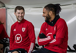 CARDIFF, WALES - Monday, November 18, 2019: Wales' Ben Davies (L) and captain Ashley Williams during a training session at the Vale Resort ahead of the final UEFA Euro 2020 Qualifying Group E match against Hungary. (Pic by David Rawcliffe/Propaganda)