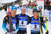 Emilien Jacquelin (FRA), Johannes Thingnes Boe (NOR), Quentin Fillon Maillet (FRA) pose after the  Men 15 Km at the IBU Biathlon World Championships, Sunday, Feb. 23, 2020, in Antholtz-Anterselva, Italy. (Pierre Teyessot-ESPA-Images/Image of Sport)