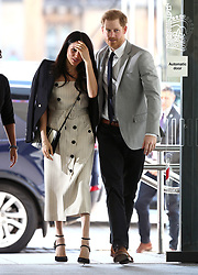 Prince Harry and Meghan Markle arrive for a reception with delegates from the Commonwealth Youth Forum at the Queen Elizabeth II Conference Centre, London, during the Commonwealth Heads of Government Meeting.