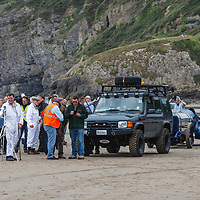 Land Rover Defender (1984-1985), Sunbeam Blue Bird (1925) at Pendine Sands, 21 July 2015, for the commemoration of the 90th anniversary of Sir Malcolm Campbells new world landspeed record where he achieved 150miles/hr in his 350hp Sunbeam Blue Bird