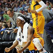 UNCASVILLE, CONNECTICUT- JUNE 5:   Erica Wheeler, (front), #17 of the Indiana Fever and Tiffany Mitchell #3 of the Indiana Fever celebrate a basket during the Indiana Fever Vs Connecticut Sun, WNBA regular season game at Mohegan Sun Arena on June 3, 2016 in Uncasville, Connecticut. (Photo by Tim Clayton/Corbis via Getty Images)