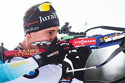 Quentin Fillon Maillet (FRA) during the Mass Start Men 15 km at day 4 of IBU Biathlon World Cup 2019/20 Pokljuka, on January 23, 2020 in Rudno polje, Pokljuka, Pokljuka, Slovenia. Photo by Peter Podobnik / Sportida