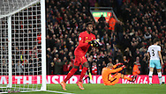 Divock Origi of Liverpool celebrates during the Premier League match at Anfield Stadium, Liverpool. Picture date: December 11th, 2016.Photo credit should read: Lynne Cameron/Sportimage