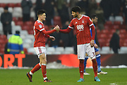 Nottingham Forest forward Joe Lolley (23) and Nottingham Forest defender Tobias Figueiredo (3) celebrate after winning 2-0 during the EFL Sky Bet Championship match between Nottingham Forest and Birmingham City at the City Ground, Nottingham, England on 3 March 2018. Picture by Jon Hobley.