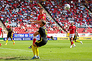 Charlton Athletic defender Tom Lockyer (5) heads clear during the EFL Sky Bet Championship match between Charlton Athletic and Brentford at The Valley, London, England on 24 August 2019.