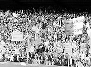 A packed stand waving flags and cheering during the All Ireland Senior Gaelic Football Semi Final Replay Roscommon v Armagh in Croke Park on the 28th August 1977. Armagh 0-15 Roscommon 0-14.