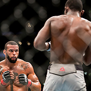 Thiago Santos (black trunks) defeated Kevin Holland (white trunks) in a middleweight bout at UFC 227 held at the Staples Center in Los Angeles on August 4, 2018. Photo by Todd Bigelow for ESPN.