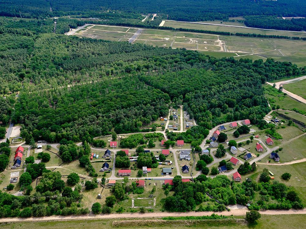 Nederland, Gelderland, Gemeente Ede, 21–06-2020; Oostdorp, militair oefendorpgelegen nabij hetInfanterie SchietkampHarskamp op de Hoge Veluwe. <br /> Harskamp, Oostdorp, training village located near the Infanterie Schietkamp in National Park De Hoge Veluwe.<br /> <br /> luchtfoto (toeslag op standaard tarieven);<br /> aerial photo (additional fee required)<br /> copyright © 2020 foto/photo Siebe Swart