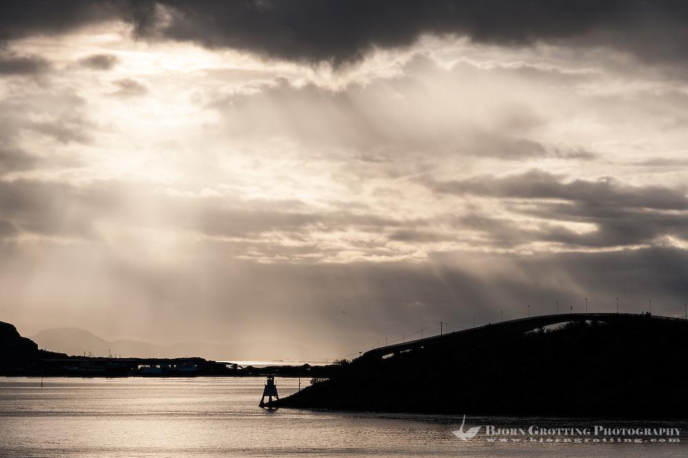 Norway, Stokksund. Sunrays above Stokken.
