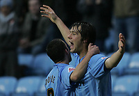 Photo: Lee Earle.<br /> Coventry City v Southend United. Coca Cola Championship. 30/12/2006. Coventry's Elliott Ward (R) celebrates after scoring their opening goal.