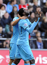 Tottenham Hotspur's Emmanuel Adebayor celebrates his goal - Photo mandatory by-line: Joe Meredith/JMP - Tel: Mobile: 07966 386802 19/01/2014 - SPORT - FOOTBALL - Liberty Stadium - Swansea - Swansea City v Tottenham Hotspur - Barclays Premier League