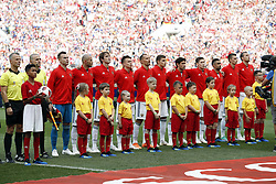 line up of the Russian team during the 2018 FIFA World Cup Russia round of 16 match between Spain and Russia at the Luzhniki Stadium on July 01, 2018 in Moscow, Russia