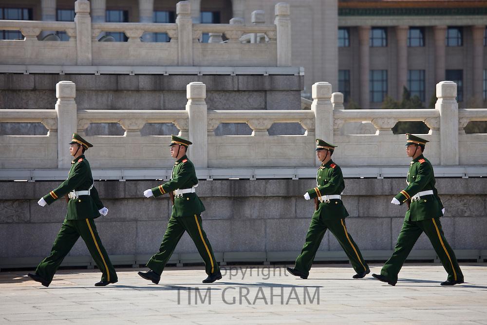 Military policemen in Tian'an Men Square, Beijing, China