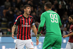 October 21, 2018 - Milan, Milan, Italy - Alessio Romagnoli #13 of AC Milan and Gianluigi Donnarumma #99 of AC Milan during the serie A match between FC Internazionale and AC Milan at Stadio Giuseppe Meazza on October 21, 2018 in Milan, Italy. (Credit Image: © Giuseppe Cottini/NurPhoto via ZUMA Press)