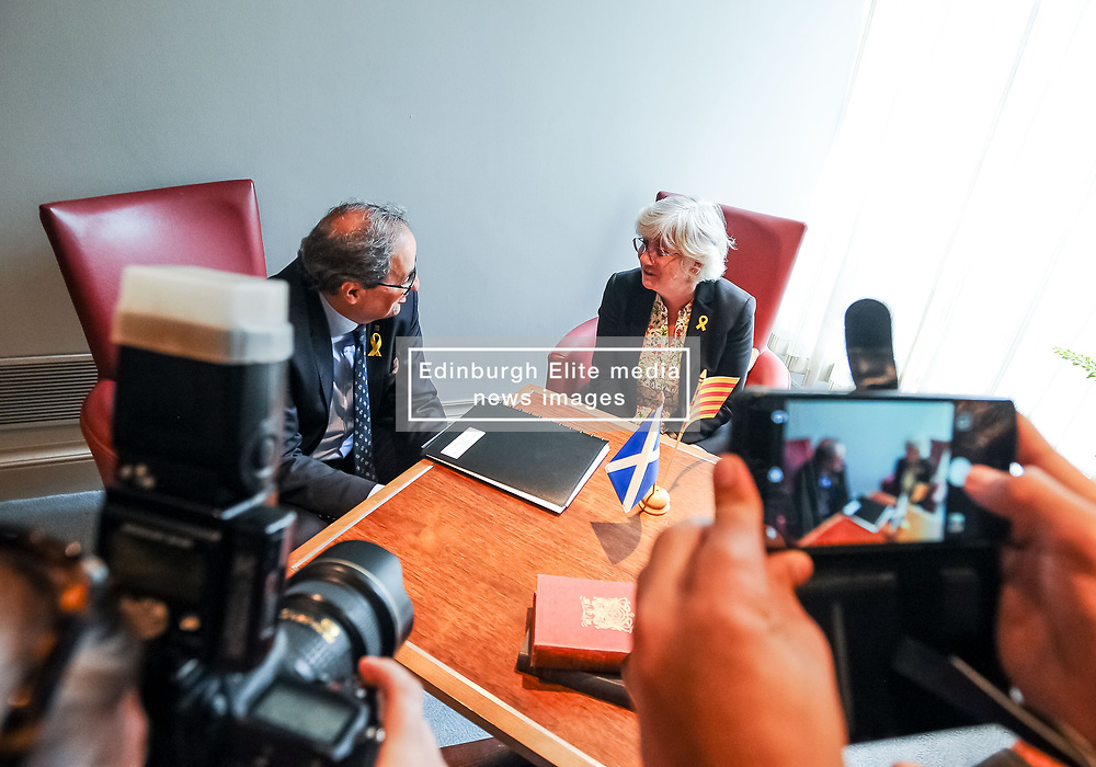 Pictured: Professor Ponsati meets with President Torra.<br /> <br /> Former Catalan Minister Clara Ponsati, who is fighting extradition to Spain following the controversial Catalan independence referendum last year met with the new President of the Catalonia Quim Torra on his first visit to Scotland, where he also met with First Minister Nicola Sturgeon<br /> <br /> © Dave Johnston / EEm