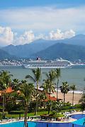 Cruise ship leaving Banaderas Bay, Marina Vallarta; Puerto Vallarta; Jalisco; Mexico;