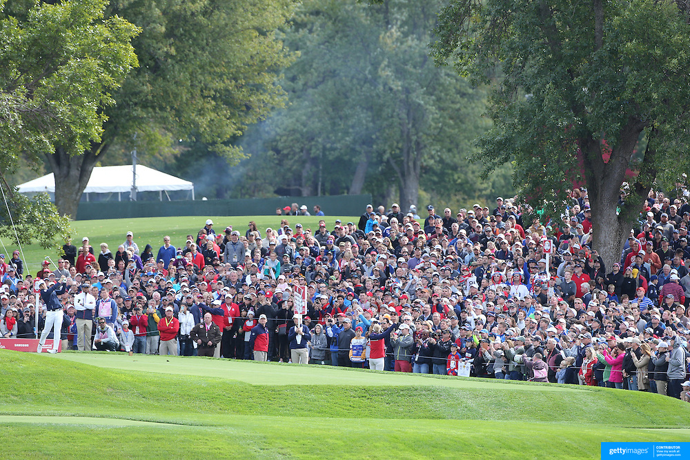 Ryder Cup 2016. Jordan Spieth of the United States plays his tee shot on the 17th during practice day in front of massive crowds at the Hazeltine National Golf Club on September 28, 2016 in Chaska, Minnesota.  (Photo by Tim Clayton/Corbis via Getty Images)
