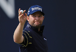 South Africa's Branden Grace celebrates after recording the first 62 in men's major championship history on day three of The Open Championship 2017 at Royal Birkdale Golf Club, Southport.