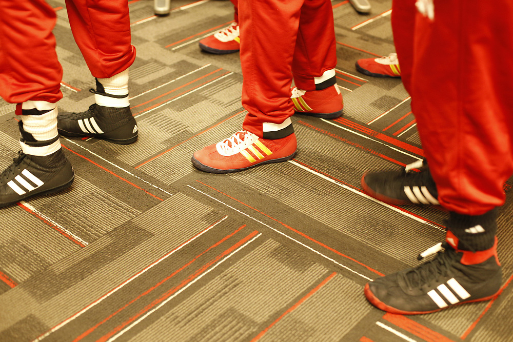 Nebraska wrestlers line up to take the floor prior to their match against Northwestern at the Bob Devaney Sports Center in Lincoln, Neb., on Feb. 12, 2016. Photo by Aaron Babcock, Hail Varsity