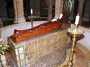 Sleeping virgin Mary, Dormition Abbey, a massive Benedictine basilica, is located at the place where Virgin Mary had fallen asleep for the last time. In the basement of the Abby there is a statue of the sleeping Holy Mother.