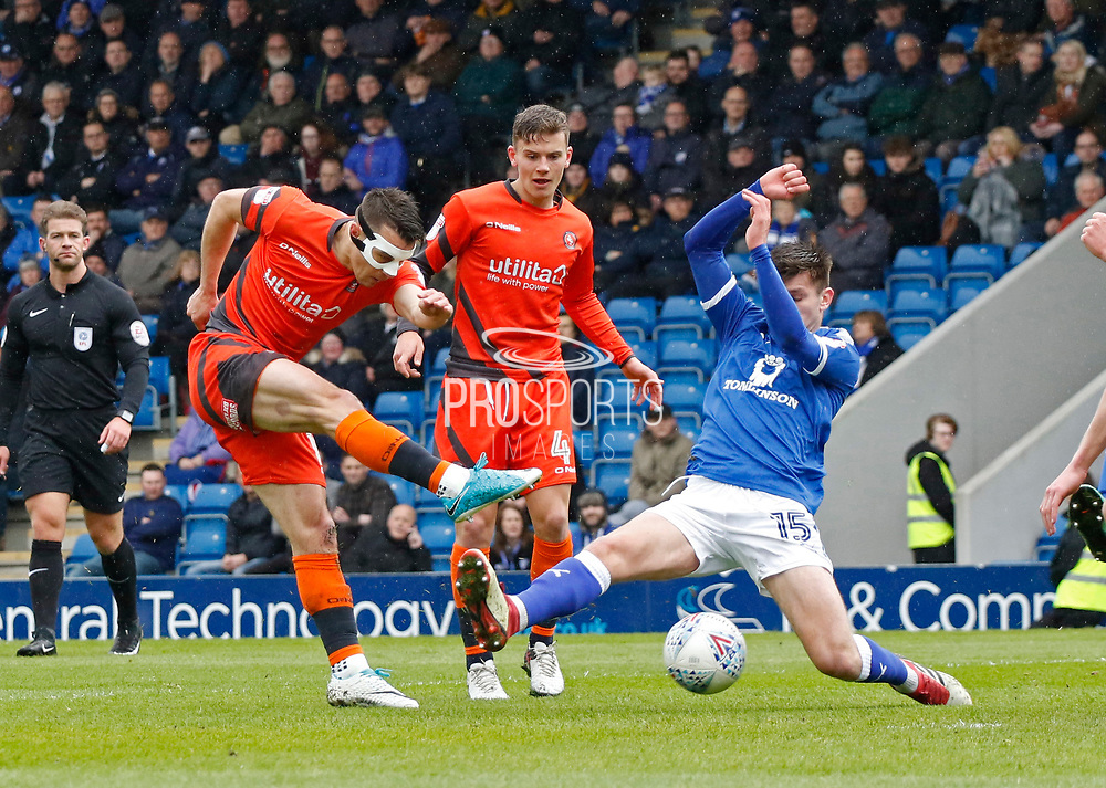 Shot b y Wycombe Wanderers Matthew Bloomfield(10) during the EFL Sky Bet League 2 match between Chesterfield and Wycombe Wanderers at the b2net stadium, Chesterfield, England on 28 April 2018. Picture by Paul Thompson.