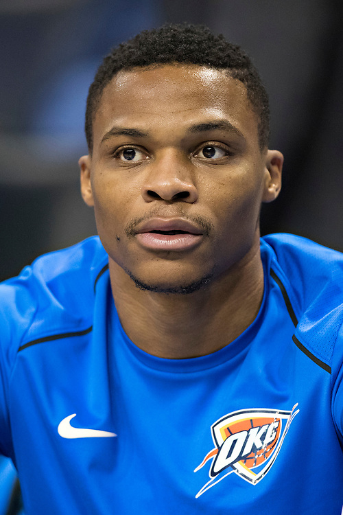 OKLAHOMA CITY, OK - OCTOBER 25:  Russell Westbrook #0 of the Oklahoma City Thunder warming up before a game against the Indiana Pacers at the Chesapeake Energy Arena on October 25, 2017 in Oklahoma City, Oklahoma.  NOTE TO USER: User expressly acknowledges and agrees that, by downloading and or using this photograph, User is consenting to the terms and conditions of the Getty Images License Agreement.  The Thunder defeated the Pacers 114-96.  (Photo by Wesley Hitt/Getty Images) *** Local Caption *** Russell Westbrook