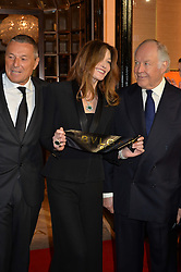 Left to right, JEAN CHRISTOPHE BABIN, CARLA SARKOZY and NICOLA BULGARI at the launch of the new Bulgari flagship store at 168 New Bond Street, London on 14th April 2016.