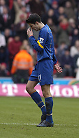 Photo: Alan Crowhurst. <br /> Southampton v Arsenal, 26/02/2005, Barclays Premiership. Robin Van Persie trudges off dejected after being sent off.