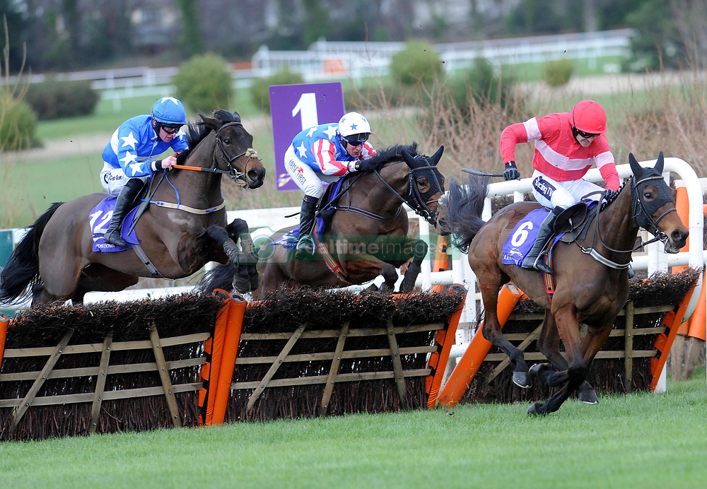 Sassy Diva and jockey Donagh Meyler (left) come from behind to win the Irish Stallion Farms EBF Paddy Mullins Mares Handicap Hurdle during day two of the Dublin Racing Festival at Leopardstown Racecourse.