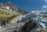 This is the lowest part of the Argentière glacier at about 2,133m (7,000ft). The compacted ice was sliding down this cliff, creating a dramatic view. At the top left is the 3,824m (12,545ft) peak, Aiguille du Chardonnet.