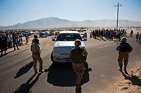 Truck surrounded by Mexican military after attempting to drive down race course, 2012 San Felipe Baja 250, Baja California, Mexico