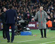 Arsenal's Arsene Wenger speaks to Slaven Bilic during the Premier League match at the London Stadium, London. Picture date December 3rd, 2016 Pic David Klein/Sportimage