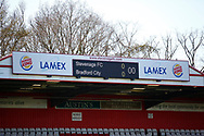 Ground shot of the score board during the EFL Sky Bet League 2 match between Stevenage and Bradford City at the Lamex Stadium, Stevenage, England on 5 April 2021.
