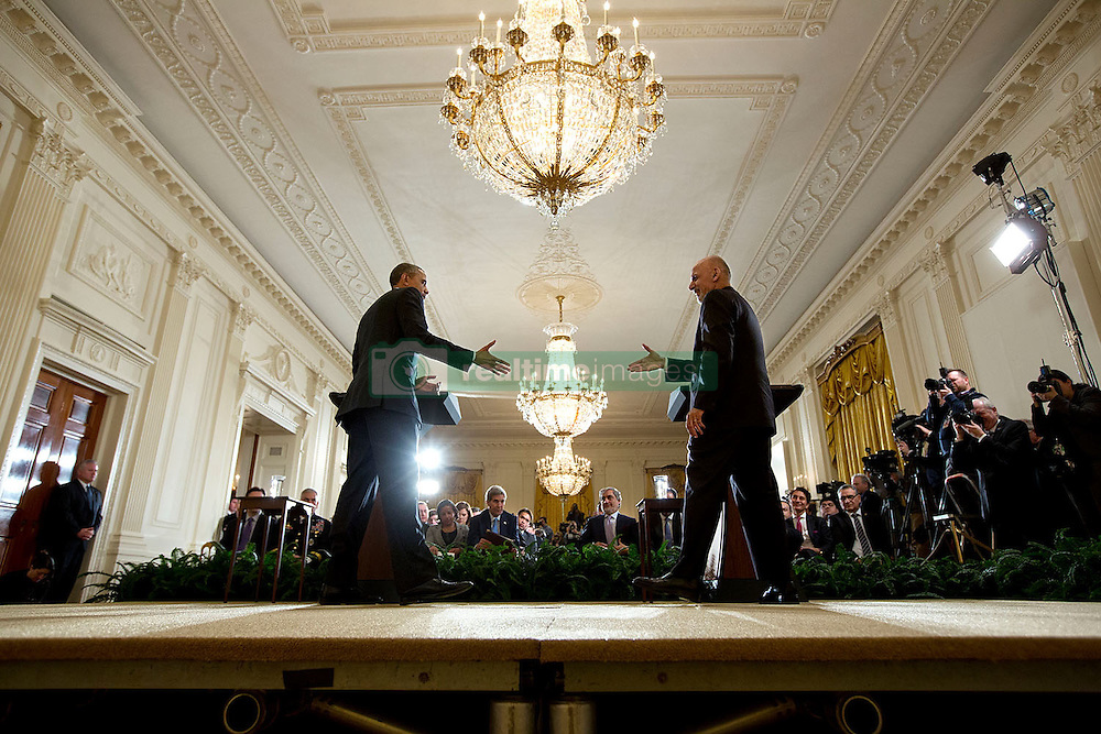President Barack Obama and President Ashraf Ghani of Afghanistan conclude a joint press conference in the East Room of the White House, March 24, 2015. (Official White House Photo by Chuck Kennedy)<br /> <br /> This official White House photograph is being made available only for publication by news organizations and/or for personal use printing by the subject(s) of the photograph. The photograph may not be manipulated in any way and may not be used in commercial or political materials, advertisements, emails, products, promotions that in any way suggests approval or endorsement of the President, the First Family, or the White House.