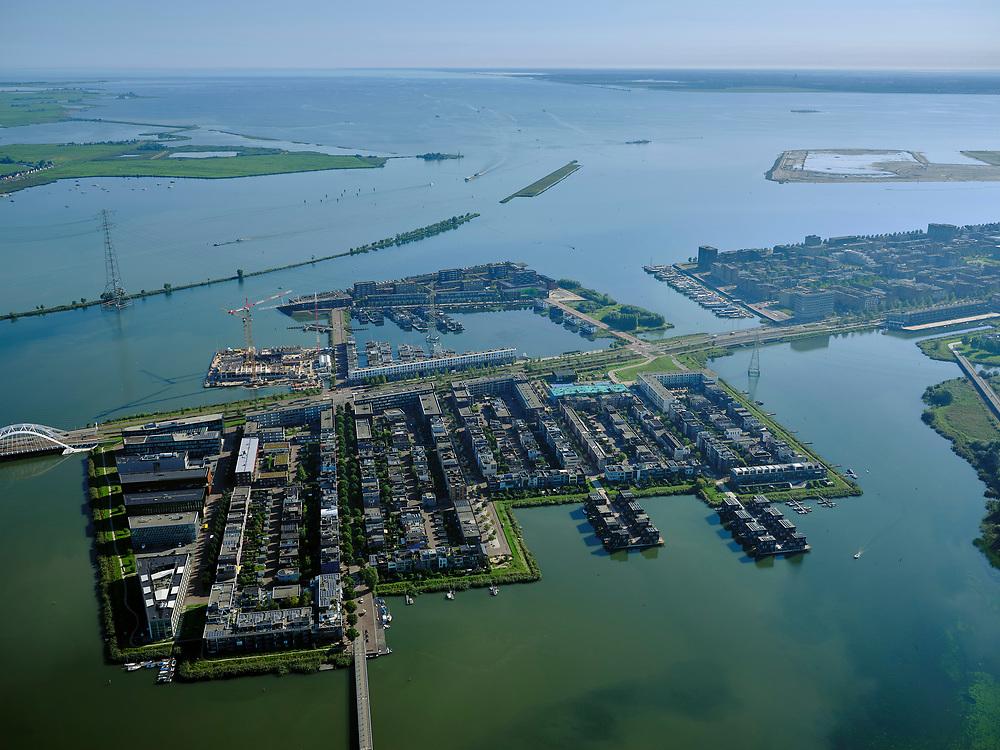 Nederland, Noord-Holland, Amsterdam, 02-09-2020; IJburg, Steigereiland. Zicht op Buiten-IJ met polderIJdoorn en Vuurtoreneiland.<br /> IJburg, Steigereiland. View of Buiten-IJ with polder IJdoorn and Vuurtoreneiland<br /> <br /> luchtfoto (toeslag op standard tarieven);<br /> aerial photo (additional fee required);<br /> copyright foto/photo Siebe Swart