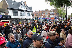 Southall, UK. 27th April 2019. Members of the local community attend a rally outside Southall Town Hall to honour the memories of Gurdip Singh Chaggar and Blair Peach on the 40th anniversary of their deaths. Gurdip Singh Chaggar, a young Asian boy, was the victim of a racially motivated attack whilst Blair Peach, a teacher, was killed by the Metropolitan Police's Special Patrol Group during a peaceful march against a National Front demonstration.