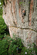 Neil Kershaw on Toys for the Boys, 7c+, Nettle Buttress, Chee Dale