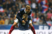 Karim Benzema jubilates with Yohan Cabaye during the International friendly game 2015 football match between France and Armenia on October 8, 2015 at Allianz Riviera of Nice, France. Photo Philippe Laurenson / DPPI