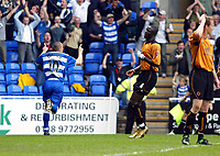 Photo. Chris Ratcliffe<br /> Reading v Wolverhampton Wanderers. Coca Cola Championship. 30/04/2005<br /> Nicky Forster wheels away in delight having put Reading 1-0 up