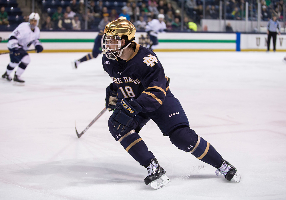 March 01, 2019:  Notre Dame forward Graham Slaggert (18) skates during NCAA Hockey game action between the Penn State Nittany Lions and the Notre Dame Fighting Irish at Compton Family Ice Arena in South Bend, Indiana.  Notre Dame defeated Penn State 5-4 in overtime.  John Mersits/CSM