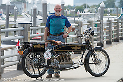 Byrne Bramwell of Ontario, Canada with his 4-cylinder 1913 Henderson class-2 bike before the start of the Motorcycle Cannonball Race of the Century Run. Atlantic City, NJ, USA. September 9, 2016. Photography ©2016 Michael Lichter.