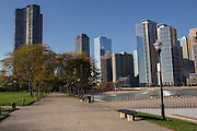 Skyline of downtown from Pfc Milton Olive Park in Chicago USA