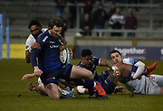 Sale Sharks full-back Simon Hammersley is tackled by London Irish centre Curtis Rona during a Gallagher Premiership Rugby Union match, won by Sharks 39-0, Friday, Mar. 6, 2020, in Eccles, United Kingdom. (Steve Flynn/Image of Sport)